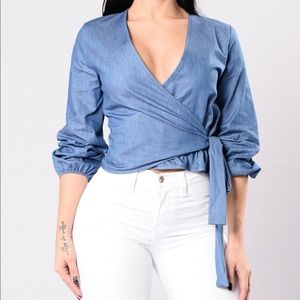Fashion Nova Denim Wrap Top